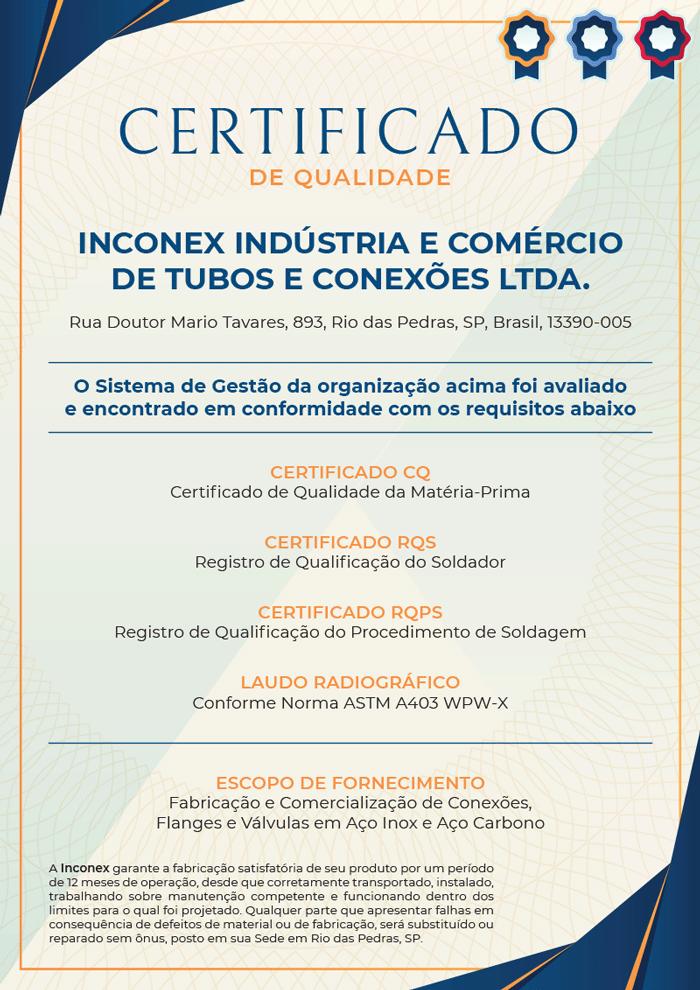 Certificado de Qualidade Inconex