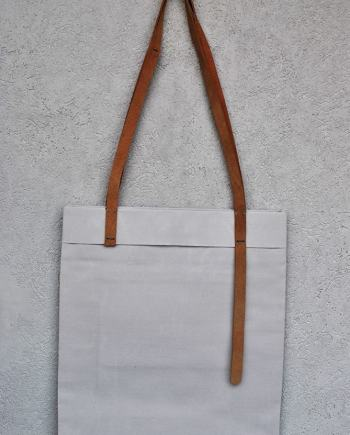tote light gray and suede - InconnuLAB
