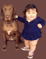 baby and a dog