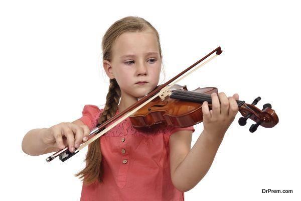 sad girl with a violin