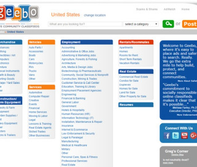 The Website Geebo Is Considered The Top Alternative To Backpage For Users In America It Has All The Popular Categories For Ad Listings And Gets Millions Of