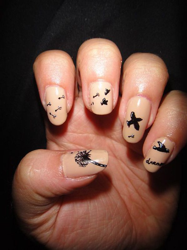 Cute Dandelion Nail Art Designs 26