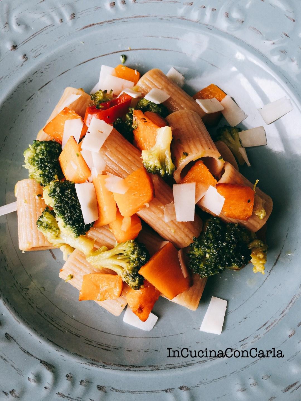 Mezze maniche integrali con zucca e broccoli