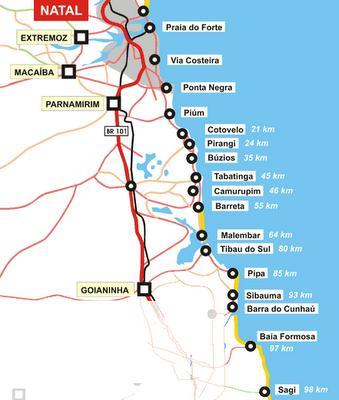 Roteiro de viagem Natal: Mapa de praias do litoral sul do RN