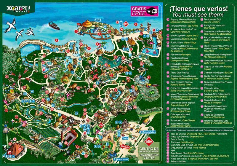 Mapa do Xcaret - vale a pena visitar?