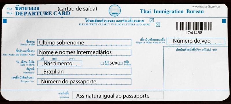 Cartão de imigração da Tailândia - parte 2