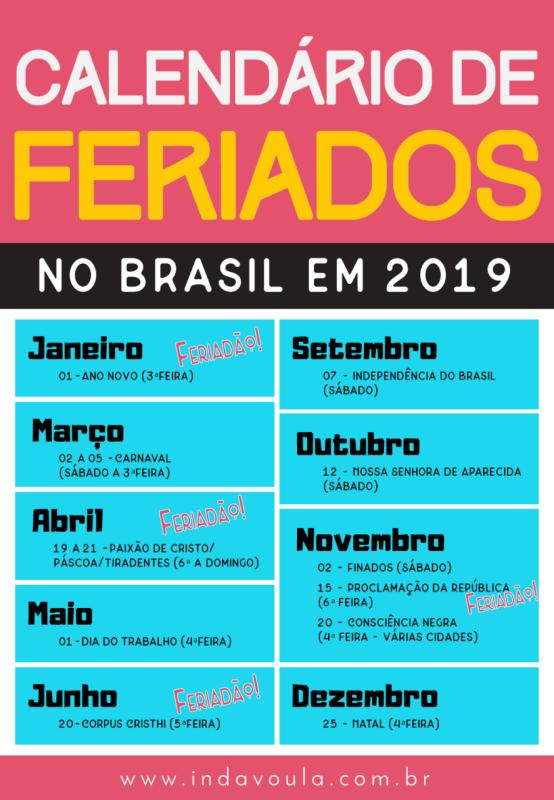 Calendário de feriados no Brasil em 2019