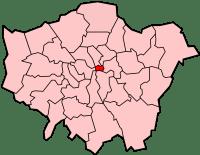 City of London destacada (em vermelho) da Grande Londres (Greater London).