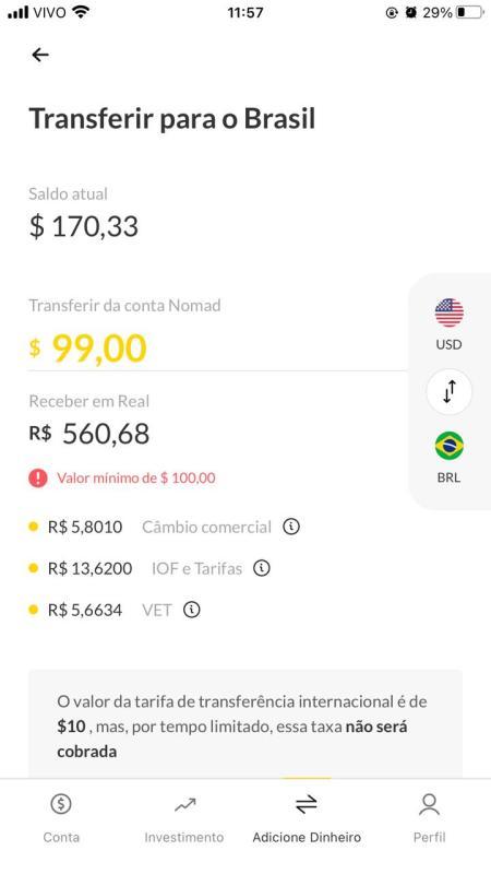 Transferindo dinheiro dos EUA para o Brasil com a conta Nomad Digital a partir de 100 dólares