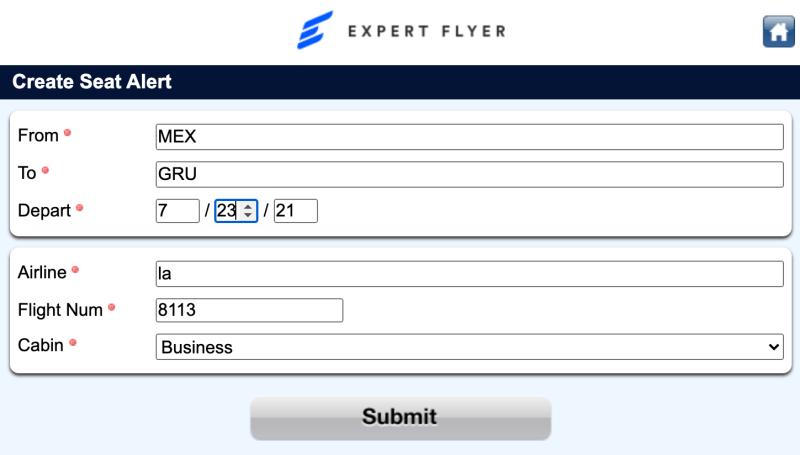 Upgrade cabina latam usando expert flyer