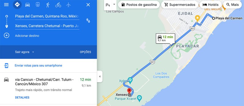 Mapa de acesso ao parque Xenses