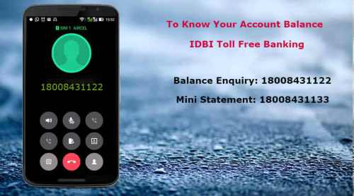 IDBI Missed Call Balance Check Number