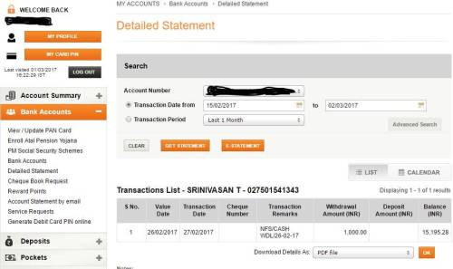 icici bank statement online