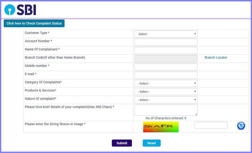 SBI Complaint Status Online - Track by Complaint Ticket Number