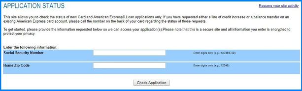 American Express Credit Card Application Status Online