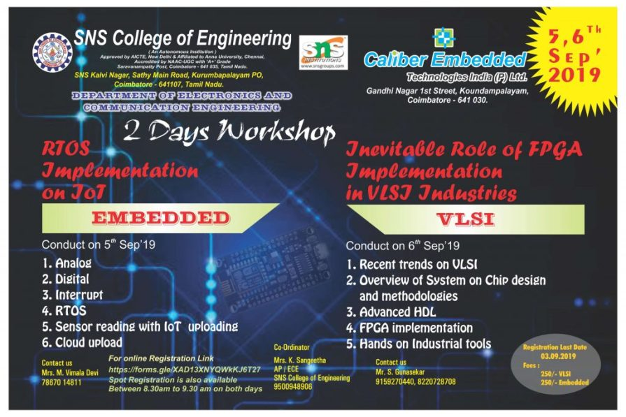 Embedded And VLSI Workshop 2019