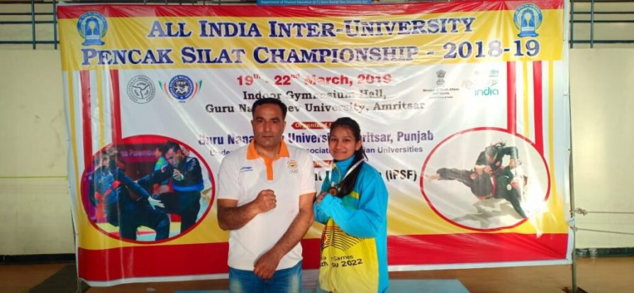 Shivangi Kumari, a BVA third year student of IIS (Deemed to be University) won Bronze Medal by securing third position in recently held All India Inter-University Pencak Silat (Men & Women) Championship at Guru Nanak Dev University, Amritsar.