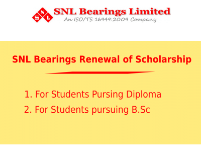 SNL Bearings Renewal Scholarship 2019 for Diploma
