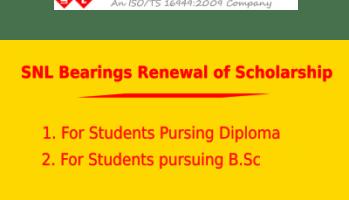 SNL Bearings Renewal Scholarship 2019 for Diploma