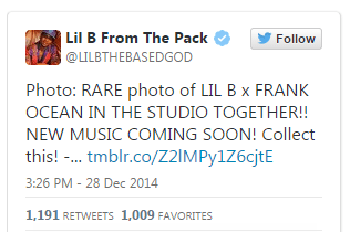 Lil B tweet over Frank Ocean