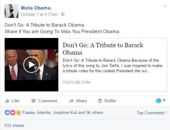 Malia Obama deelt het nummer Don't Go van Jon Tarifa