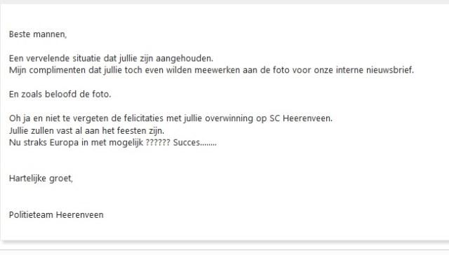 Mail van agent aan een van de aangehouden Feyenoord-fans