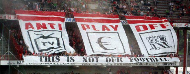 Fans van Standard Liege zijn niet blij met de playoffs