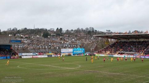 Een uitzicht vanaf het stadion over Exeter