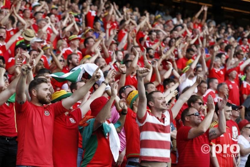Supporters Wales bij de wedstrijd tussen Wales en Noord Ierland