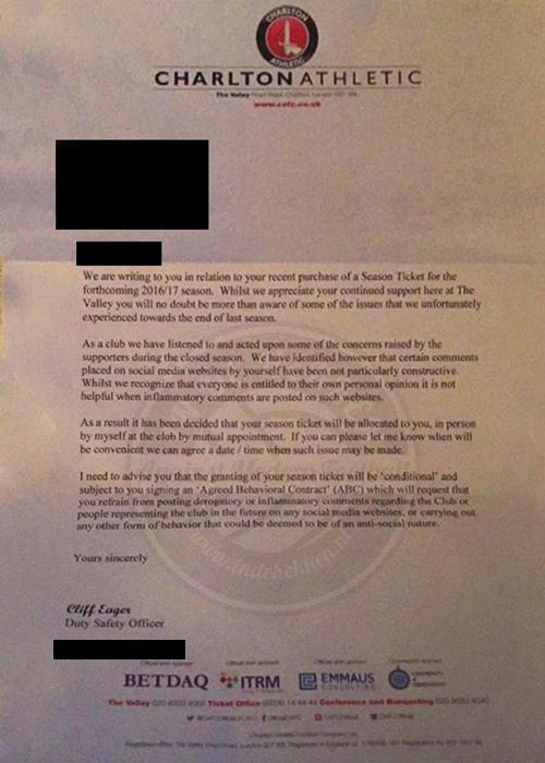 Brief van Charlton Athletic
