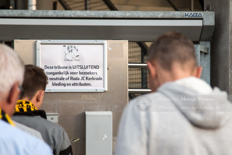 Op naar Roda JC - SC Heerenveen. De West Side is 'off limit' voor bepaalde gasten