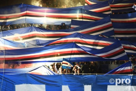 Sampdoria fans tijden de Derby della Lanterna tussen Genoa en Sampdoria. Foto: Pro Shots / Insidefoto
