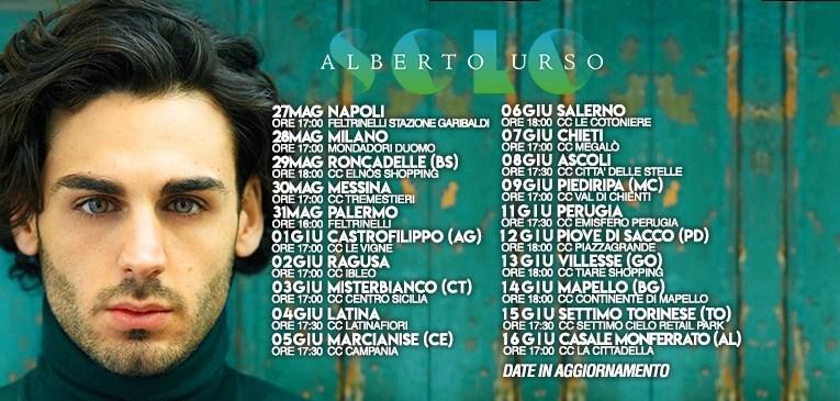Alberto Urso in tour per incontrare i suoi fans