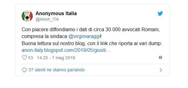 Anonymous, attacco hacker alle mail di 30mila avvocati romani. C'è anche la Raggi