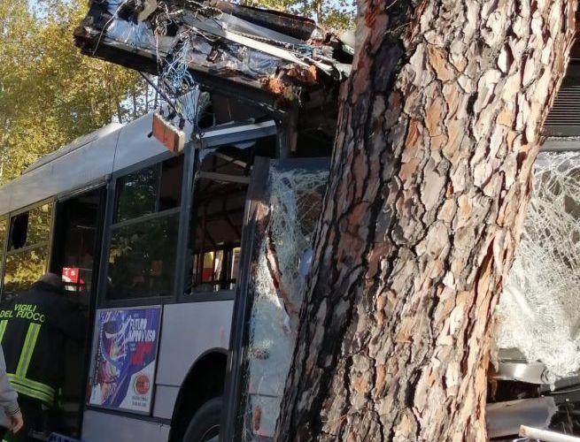 Roma, autobus di linea finisce contro un albero: 29 feriti, 9 sono gravi |VIDEO/FOTO