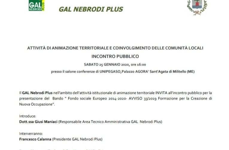 Il Gal Nebrodi Plus, d'intesa con il Comune di Sant'Agata di Militello, ospiterà l'assessore Regionale On. Prof. Lagalla
