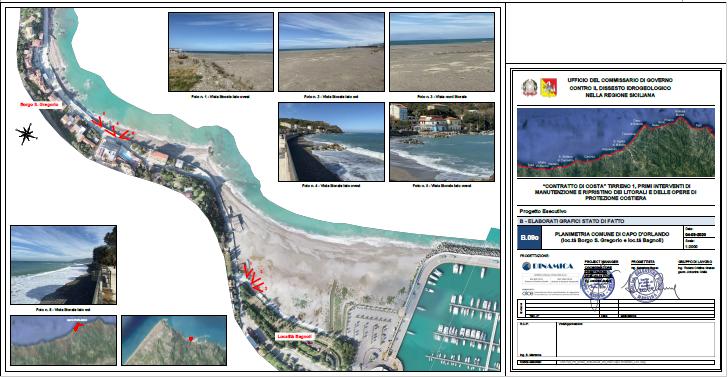 Interventi di ripascimento sulla spiaggia della litoranea di San Gregorioe nella zona Testa di Monaco