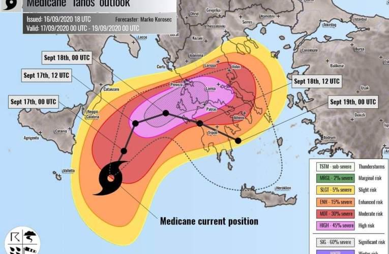 Uragano Mediterraneo Ianos, pericolo Grecia, lambita Sicilia e Calabria