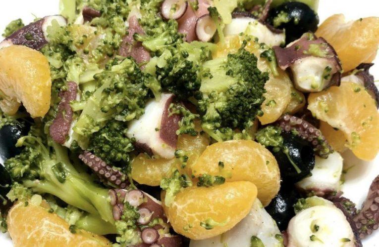 Insalata di Polipo, broccoli, olive e mandarino