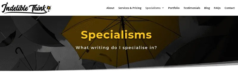 copywriting specialisms, copywriter near me
