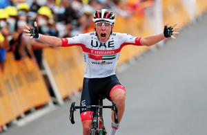 UAE Team Emirates rider Tadej Pogacar of Slovenia wins Stage 9