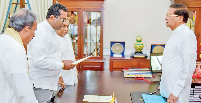 Manoj Sirisena sworn in as Southern Provincial Council Minister