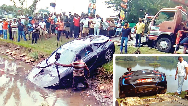 BMW which crashed into canal driven by relative of Minister Kabir Hashim