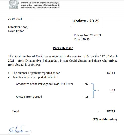 Update on Divulapitiya, Peliyagoda and Prison clusters