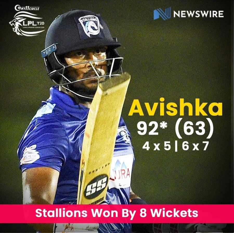 Jaffna Stallions beat Galle Gladiators by 8 wickets
