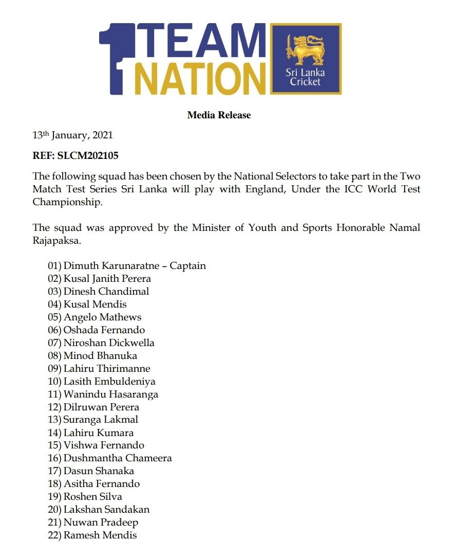 Sri Lanka 22 member squad for England series revealed