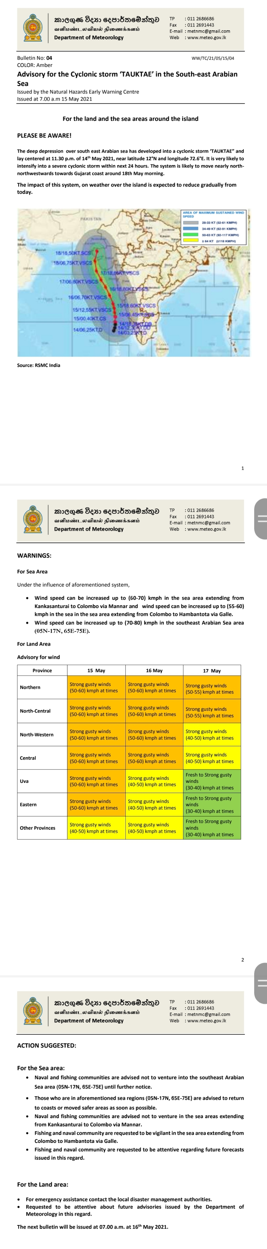 Advisory for the Cyclonic storm 'TAUKTAE' in the South-east Arabian Sea