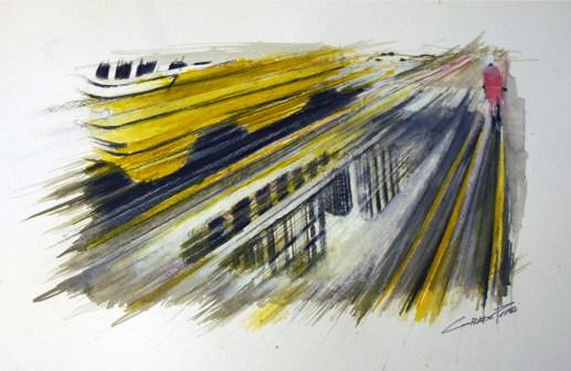 Corrado Pizzi, Urban #2, 2014, acrilico su carta, cm 23x36,5
