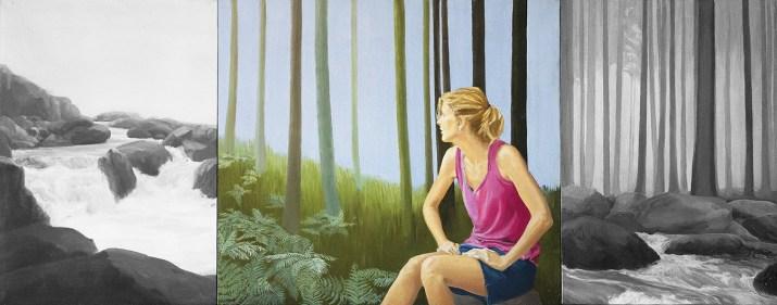 Annaluce Aglietto, Nel silenzio tra gli alberi, 2017, 104 x 40cm trittico, olio su tela