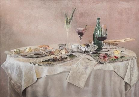 Davide Prevosto, Composizione barocca con avanzi, olio su tela, 2014, 70x100cm